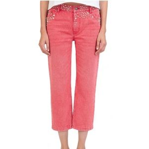 NWT The Kooples Nelly Studded Red Cropped Jeans